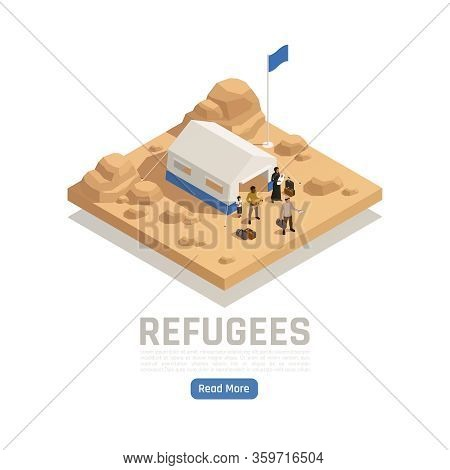 Stateless Refugees Asylum Isometric Poster With Tent Of Reception Camp And Human Characters Vector I