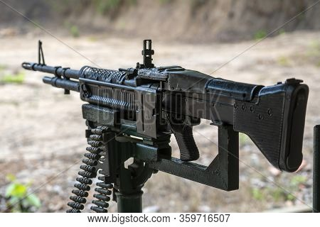 Machine Gun Automatic Weapon For People Shooting At Cu Chi Tunnels In Ho Chi Minh, Vietnam, Closeup