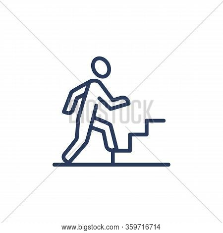 Career Growth Thin Icon. Employee, Worker, Professional Walking Upstairs. Line Icon For Business, Jo
