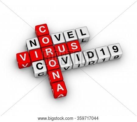 Novel Corona Vrus COVID19 sign. 3D crossword puzzle.