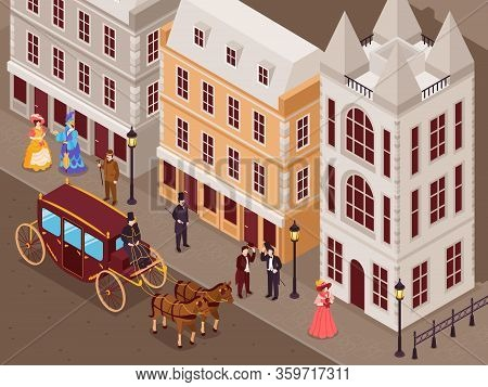 Victorian Era Street With City Houses Gentlemen Ladies In Fashionable Crinoline Skirts Carriage Isom