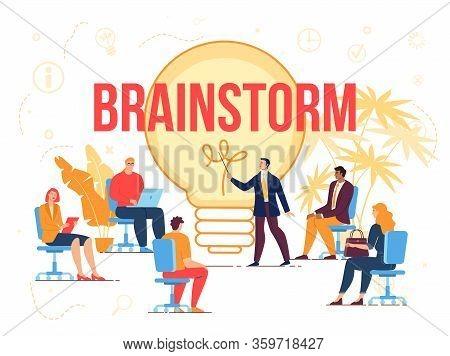 Brainstorm Creation Idea Workflow Process. Business Briefing Partner Meeting, Teamwork Task Discussi