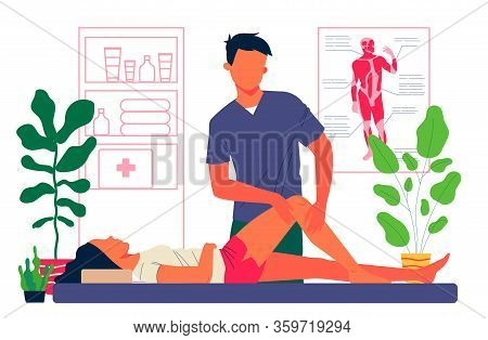 Massage Therapist Office. Man Massaging Woman Leg And Knee Flat Vector Illustration. Sport Massage,