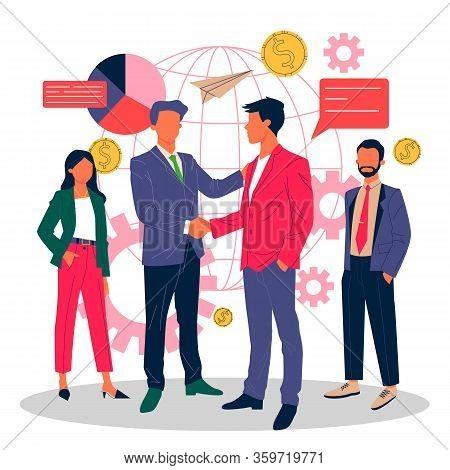 Global Business Partnership Flat Vector Illustration. International Teamwork, Negotiation And Succes