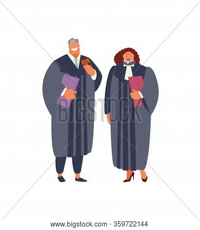Standing Judges Man And Woman In A Judging Robe On A White Background. Vector Illustration