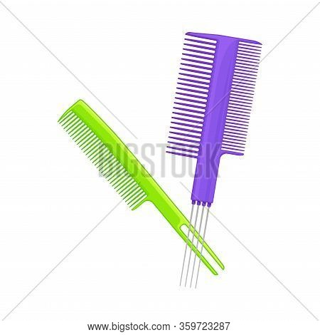 Plastic Hair Comb For Combing Long Hair Vector Illustration