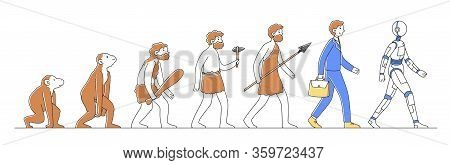 Way From Monkey To Cyborg Or Robot Flat Vector Illustration. Humankind Progress From Caveman As Ance