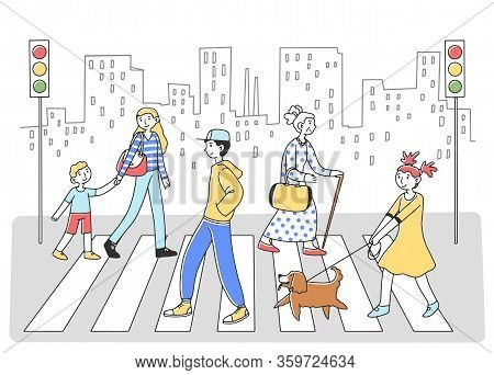 People Walking Through Crosswalk To Another Side Flat Vector Illustration. Pedestrians At Road With
