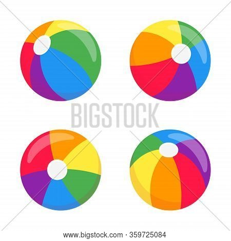 Beach Balls Flat Style Design Vector Illustrationset Icon Signs Isolated On White Background. Retro