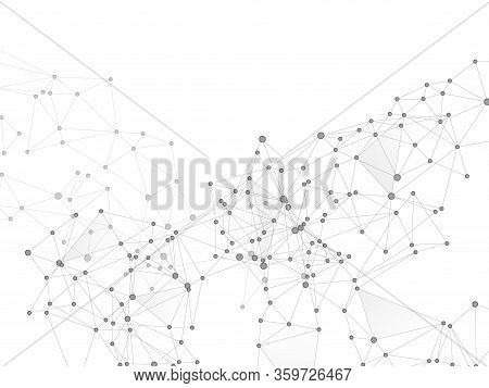 Block Chain Global Network Technology Concept. Network Nodes Greyscale Plexus Background. Genetic En