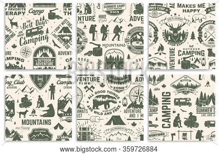 Set Of Summer Camp Seamless Pattern Or Background. Vector. Retro Typography Design With Rv Trailer,