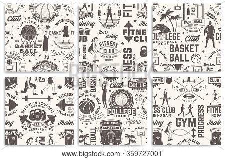 Basketball And Fitness Club Seamless Pattern Or Background. Vector. Seamless Sport Pattern With Bask