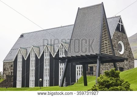Klaksvik Traditional Church With Exempt Bell Tower In Faroe Islands