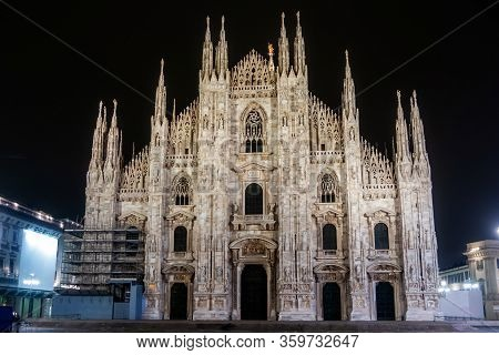 Milan Cathedral, Duomo Di Milano, At Night. Italy. Milan Chatedral Is One Of The Largest Churches In