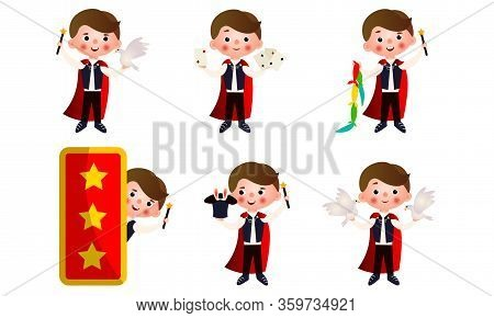 Young Man Magician With Magic Objects Making Miracles Vector Illustration