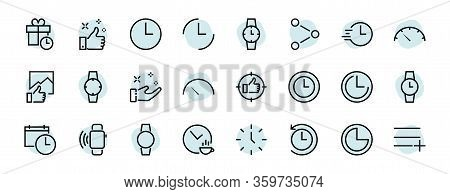 Simple Set Of Time Icon Color Editable Template. Contains Icons Such As Time Check, Speedometer Cale