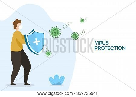 Coronavirus Protection. Male With Security Shield For Virus Protection. Man Fighting Coronavirus Cel