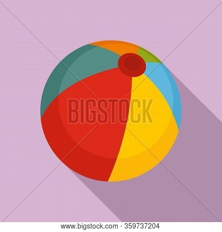Beach Ball Icon. Flat Illustration Of Beach Ball Vector Icon For Web Design