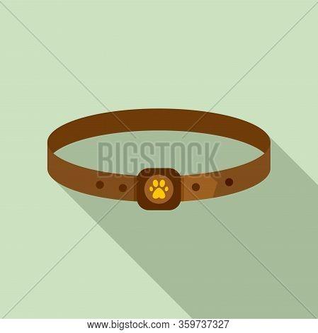 Dog Leather Belt Icon. Flat Illustration Of Dog Leather Belt Vector Icon For Web Design