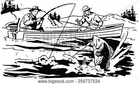Two Men Bass Fishing - Landing The Big One