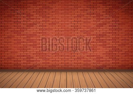 Interior Of Red Brick Wall And Wooden Floor. Vintage Rural Room And Fashion Interior. Grunge Industr