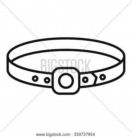 Dog Leather Belt Icon. Outline Dog Leather Belt Vector Icon For Web Design Isolated On White Backgro