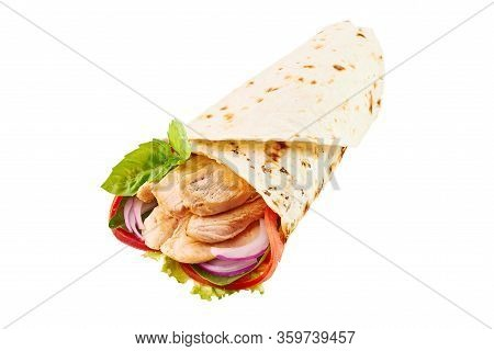 Chicken Roll Or Shawarma Or Doner Isolated On White Background. Shawarma Tomato, Red Onion, Lettuce