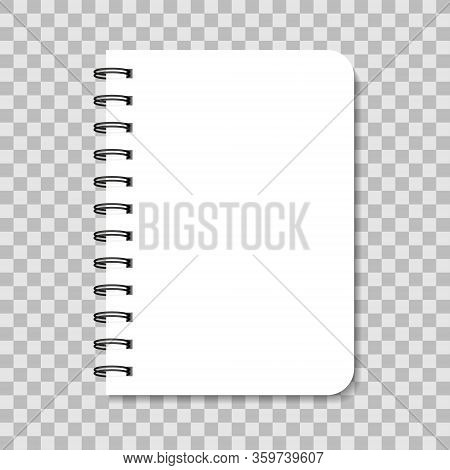 Blank Notebook With Spiral. Paper Note With Cover And Binder. White Notepad Isolated On Transparent
