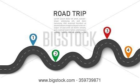 Road Trip. 3d Journey With Gps Navigation, Location In Street. Winding Way Map. Asphalt For Car In H