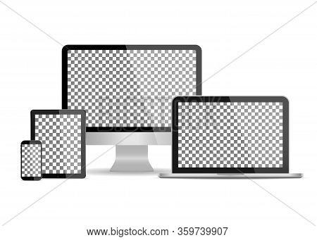 Mockup Of Computer Monitor, Laptop, Tablet, Phone Isolated On White Background. Set Of Mockup Device