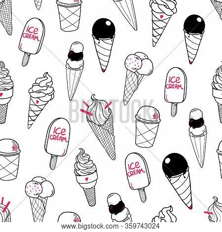 Seamless Ice Cream Pattern. Hand-drawn Monochrome Black And White Background With Pink Accent. Ice-c