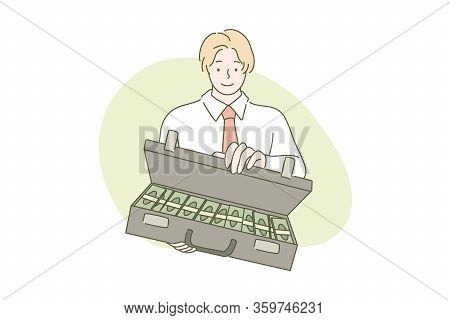 Business Deal Or Proposal, Money Offe, Investment Dollar Concept. Young Businessman, Clerk Manager,
