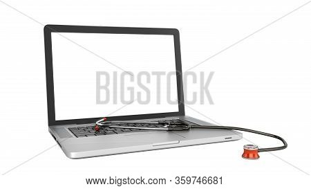 Modern Concept Of Online Medical Care Laptop And Telephone With White Screen 3d Render On Whie No Sh