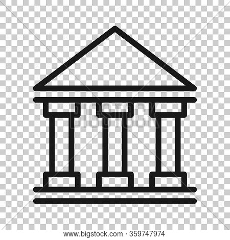 Bank Building Icon In Flat Style. Government Architecture Vector Illustration On White Background. M