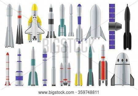 Space Rocket Vector Cartoon Set Icon. Spaceship Isolated Cartoon Set Icon. Vector Illustration Space
