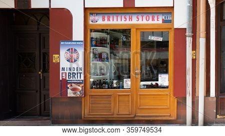 Gyor Hungary 06 30 2019: Shop Window Of A British Store.