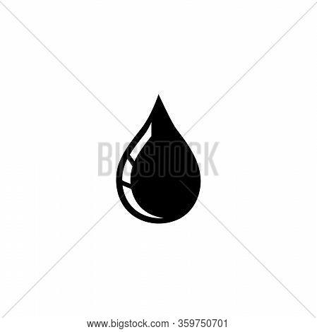 Oil Drop, Petroleum Droplet, Fuel Blob. Flat Vector Icon Illustration. Simple Black Symbol On White