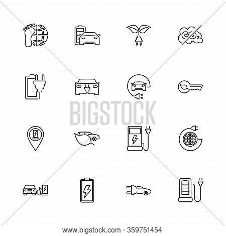 Electric Car, Hybrid Engine Outline Icons Set. Black Symbol On White Background. Electric Car Hybrid