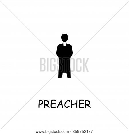 Preacher Flat Vector Icon. Hand Drawn Style Design Illustrations.