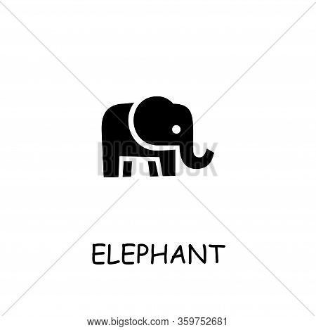 Elephant Flat Vector Icon. Hand Drawn Style Design Illustrations.