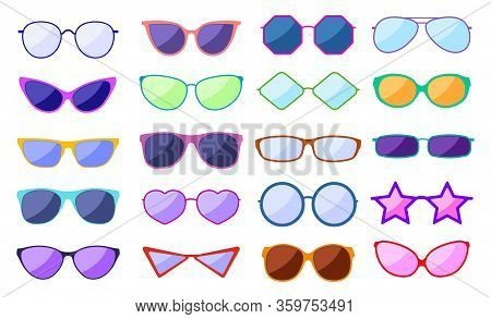 Sunglasses Silhouette. Retro Fashion Glasses, Glamour Goggles. Trendy Spectacles With Reflection, Pr