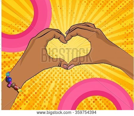 Hands Of Black Woman In Heart Shape On Rays Bright Yellow Background As Pop Art Style. Template For