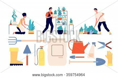 People Gardening. Woman Gardener, Agriculture Tools. Garden Workers, Harvesting And Farming. Flat Ur