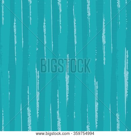 Painterly Teal Stripe Vector Seamless Pattern Background. Overlapping Brush Stroke Style Striped Tur