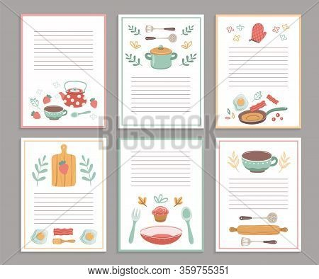 Recipe Cards. Culinary Book Blank Pages. Cookbook Stickers, Cute Home Menu. Banners For Baking Cooki