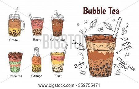 Bubble Tea Drink. Yummy Chocolate Menu, Smoothie Or Coffee, Milkshake Promotion. Doodle Iced Summer
