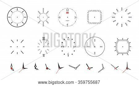 Clock Faces. Modern Wall Watch Face Design. Isolated Dials With Needles, Numbers And Arrows. Black M