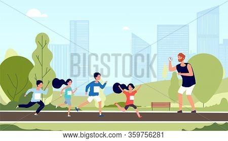 Children Marathon. Kids Athlete Workout, Run Competition. School Sport Lesson In Park. Friendly Boy