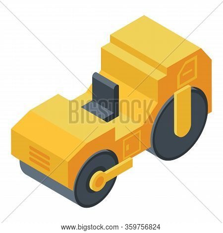 Roller Compactor Icon. Isometric Of Roller Compactor Vector Icon For Web Design Isolated On White Ba