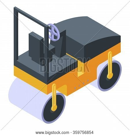 Asphalt Compactor Icon. Isometric Of Asphalt Compactor Vector Icon For Web Design Isolated On White